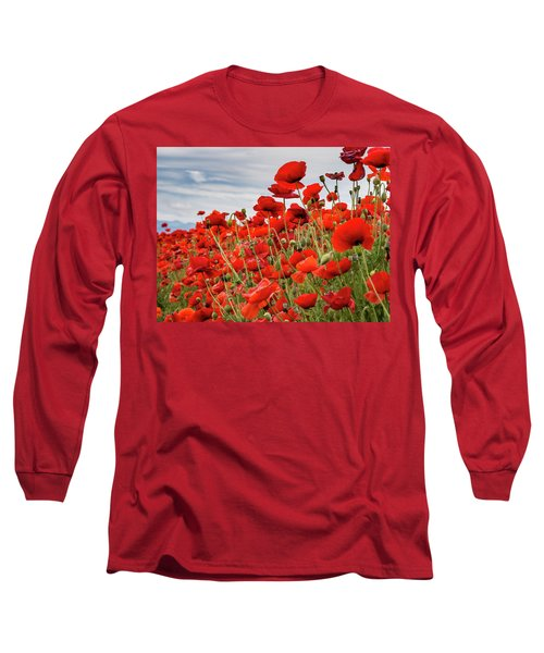 Waving Red Poppies Long Sleeve T-Shirt by Jean Noren
