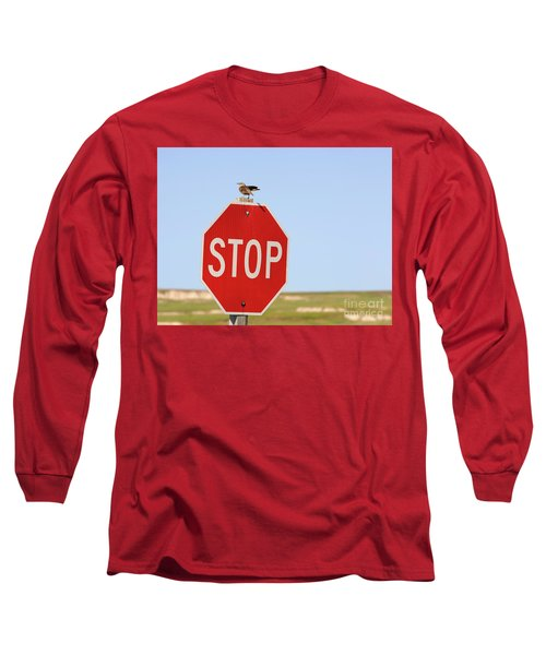 Western Meadowlark Singing On Top Of A Stop Sign Long Sleeve T-Shirt by Louise Heusinkveld