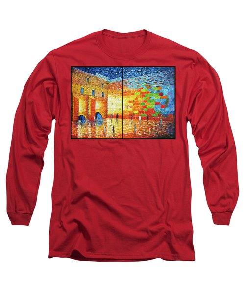 Long Sleeve T-Shirt featuring the painting Western Wall Jerusalem Wailing Wall Acrylic Painting 2 Panels by Georgeta Blanaru