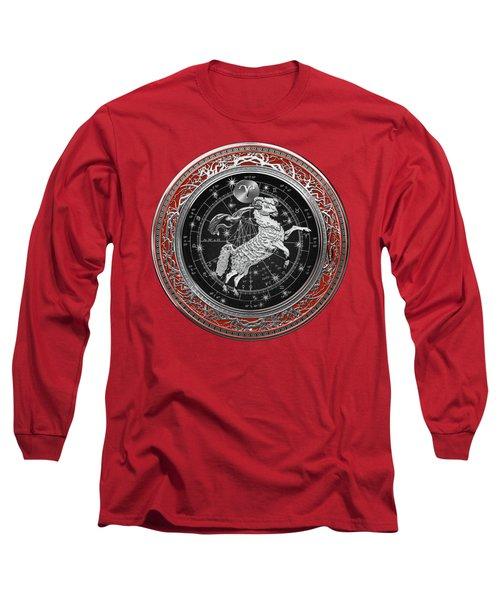 Western Zodiac - Silver Aries -the Ram On Red Velvet Long Sleeve T-Shirt