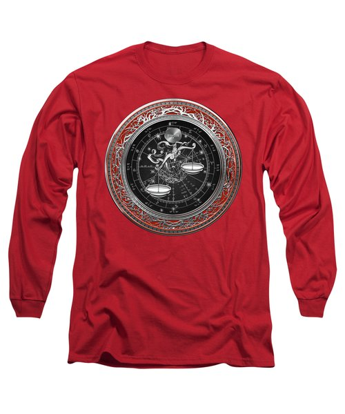 Western Zodiac - Silver Libra -the Scales On Red Velvet Long Sleeve T-Shirt