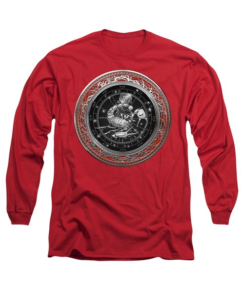 Western Zodiac - Silver Scorpio - The Scorpion On Red Velvet Long Sleeve T-Shirt