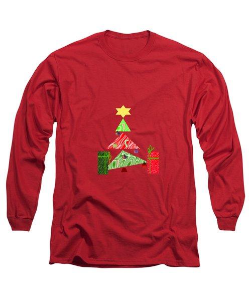 Whimsical Christmas Tree Long Sleeve T-Shirt by Kathleen Sartoris
