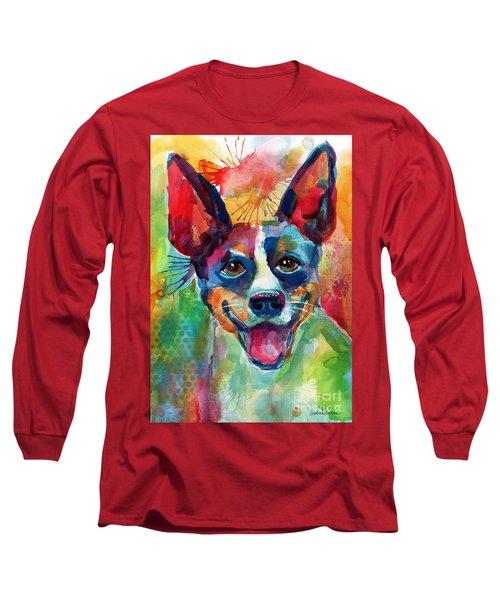 Whimsical Rat Terrier Dog Painting Long Sleeve T-Shirt by Svetlana Novikova
