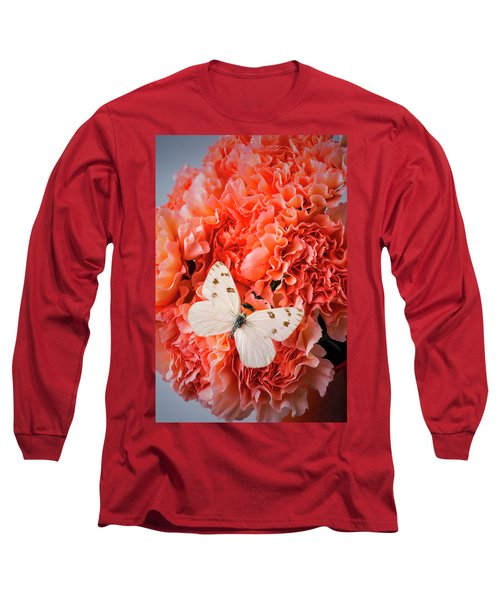 White Butterfly On Pink Carnations Long Sleeve T-Shirt