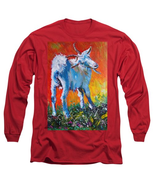 White Goat Painting - Scratching My Back Long Sleeve T-Shirt