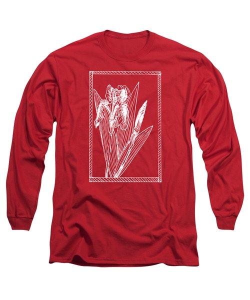 White Iris On Transparent Background Long Sleeve T-Shirt