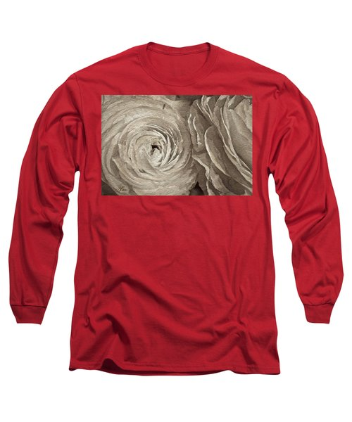 Long Sleeve T-Shirt featuring the painting White On White Rose by Joan Reese