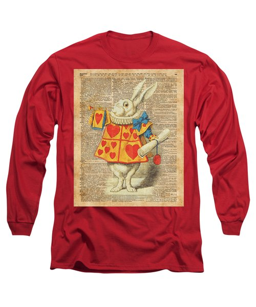 White Rabbit With Trumpet Alice In Wonderland Vintage Dictionary Artwork Long Sleeve T-Shirt