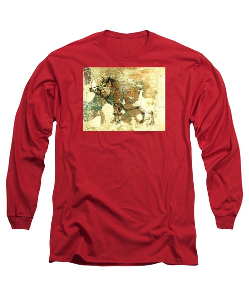 Wild Boar Cave Painting 1 Long Sleeve T-Shirt by Larry Campbell