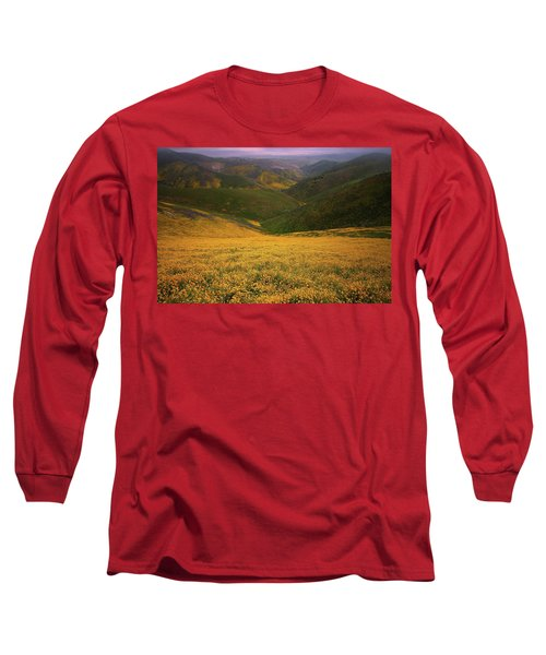 Wildflower Field Up In The Temblor Range At Carrizo Plain National Monument Long Sleeve T-Shirt
