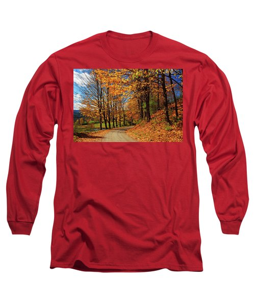 Winding Country Road In Autumn Long Sleeve T-Shirt