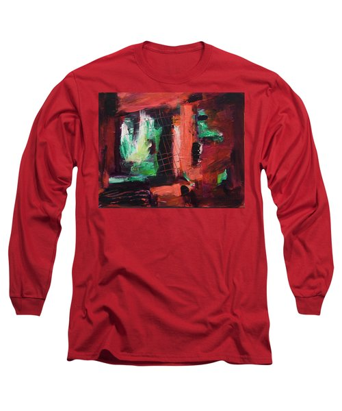 Long Sleeve T-Shirt featuring the painting Window Original Acrylic Painting by Yulia Kazansky