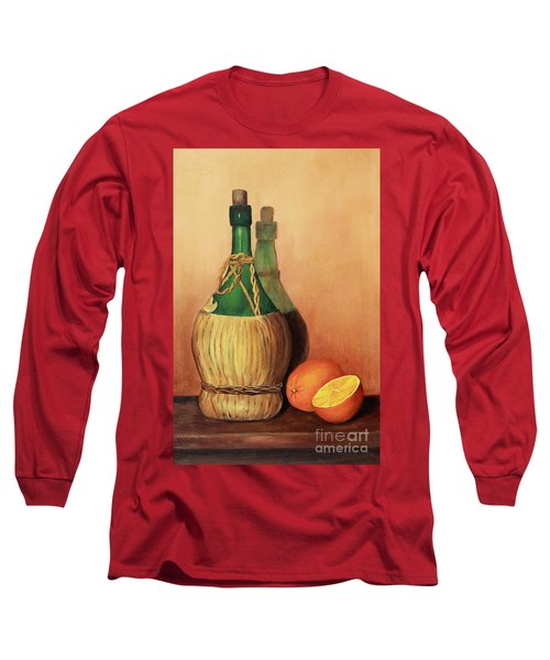 Wine And Oranges Long Sleeve T-Shirt by Pattie Calfy