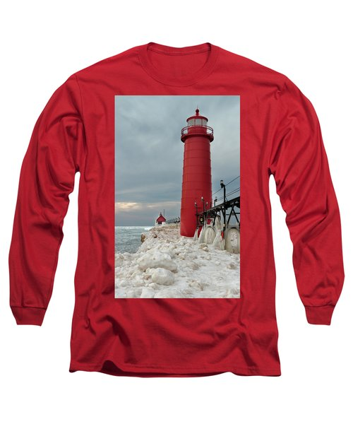 Winter At Grand Haven Lighthouse Long Sleeve T-Shirt