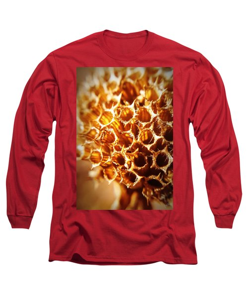 Long Sleeve T-Shirt featuring the photograph Winter Bee Balm Macro by Bruce Carpenter