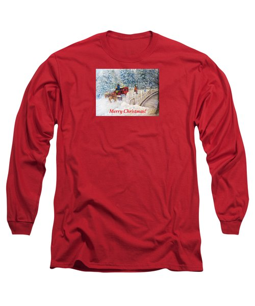 Winter Carriage In Central Park Christmas Card Long Sleeve T-Shirt by Loretta Luglio