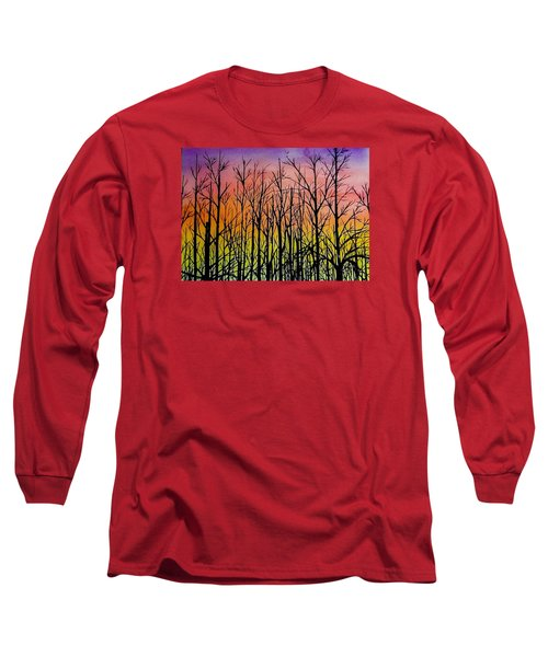 Long Sleeve T-Shirt featuring the painting Winter Trees At Sunset by Ellen Canfield