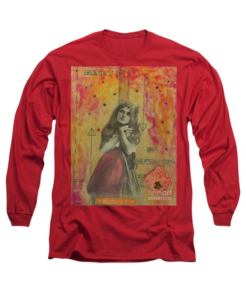 Long Sleeve T-Shirt featuring the mixed media Wish Upon A Star by Desiree Paquette