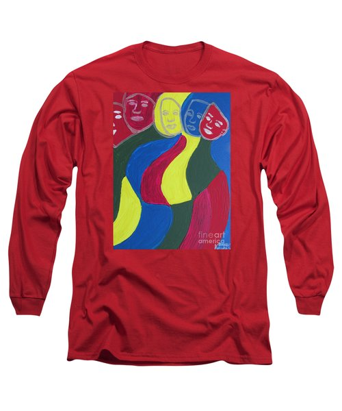 Long Sleeve T-Shirt featuring the painting Women - Who Are All Sisters by Mudiama Kammoh