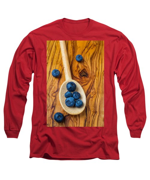Wooden Spoon And Blueberries Long Sleeve T-Shirt by Garry Gay