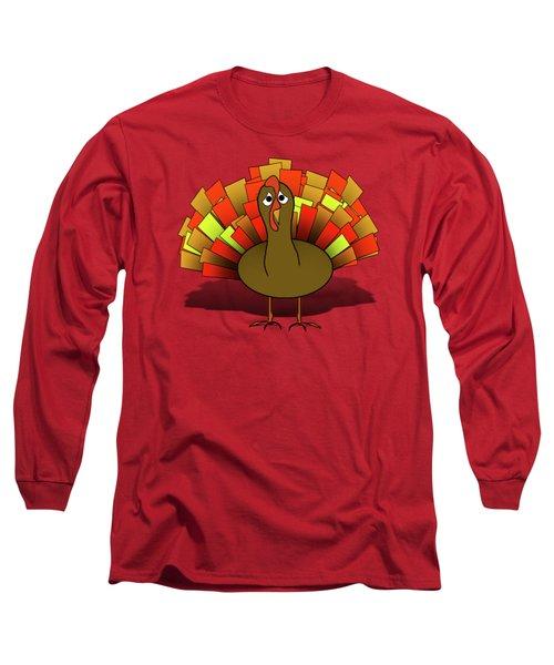 Worried Turkey Illustration Long Sleeve T-Shirt