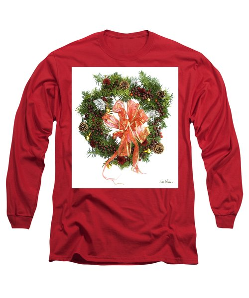 Long Sleeve T-Shirt featuring the digital art Wreath With Bow by Lise Winne