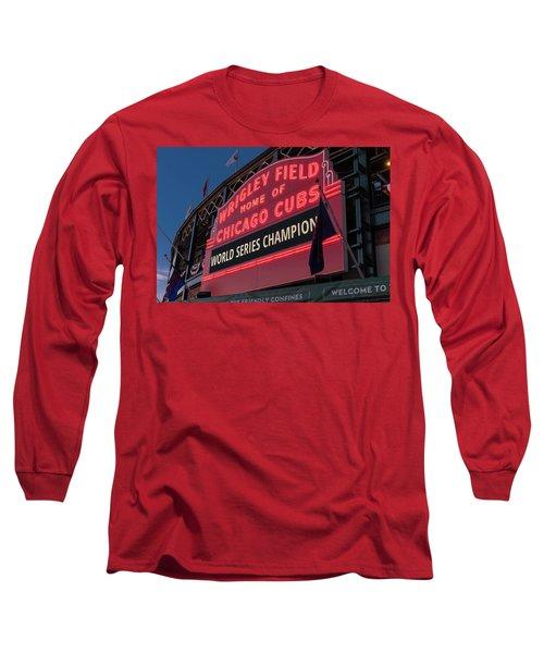 Wrigley Field World Series Marquee Long Sleeve T-Shirt by Steve Gadomski