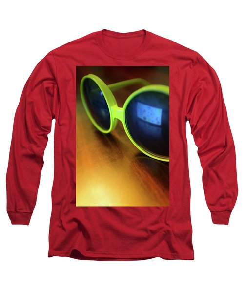 Long Sleeve T-Shirt featuring the photograph Yellow Goggles With Reflection by Carlos Caetano