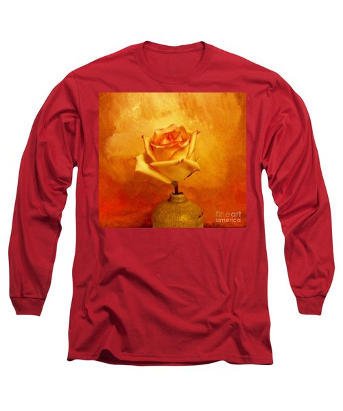 Long Sleeve T-Shirt featuring the photograph Yellow Red Orange Tipped Rose by Marsha Heiken