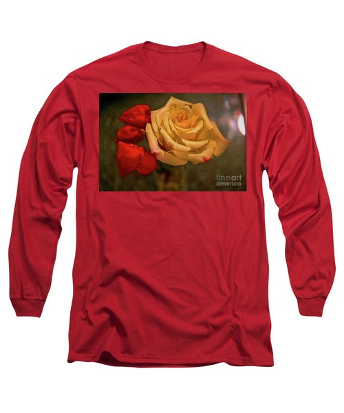 Long Sleeve T-Shirt featuring the photograph Yellow Rose And Chinese Lanterns by Diana Mary Sharpton
