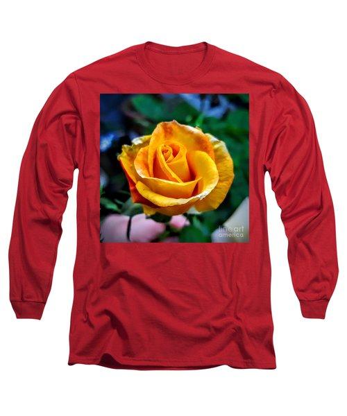 Yellow Rose Long Sleeve T-Shirt by Garnett Jaeger