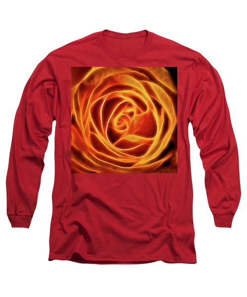 Long Sleeve T-Shirt featuring the photograph Yellow Rose Glow Square by Terry DeLuco