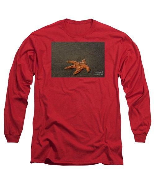 Orange Starfish On Oregon Beach Long Sleeve T-Shirt by Chuck Flewelling