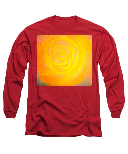 Long Sleeve T-Shirt featuring the mixed media Yelloworange Rose by Kim Henderson
