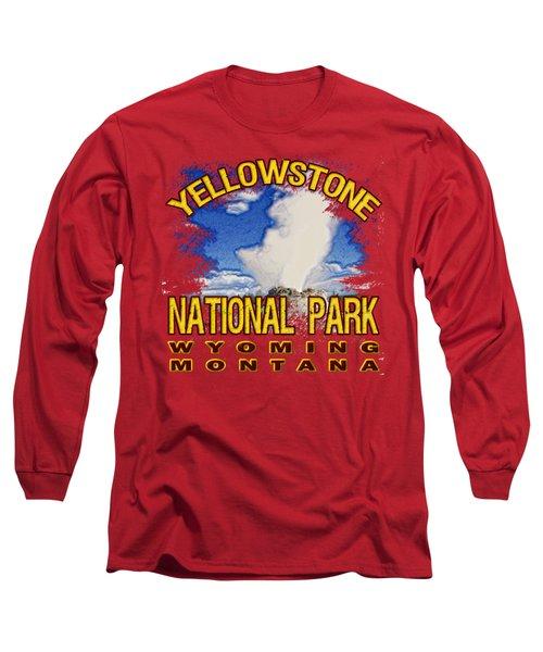 Yellowstone National Park Long Sleeve T-Shirt by David G Paul
