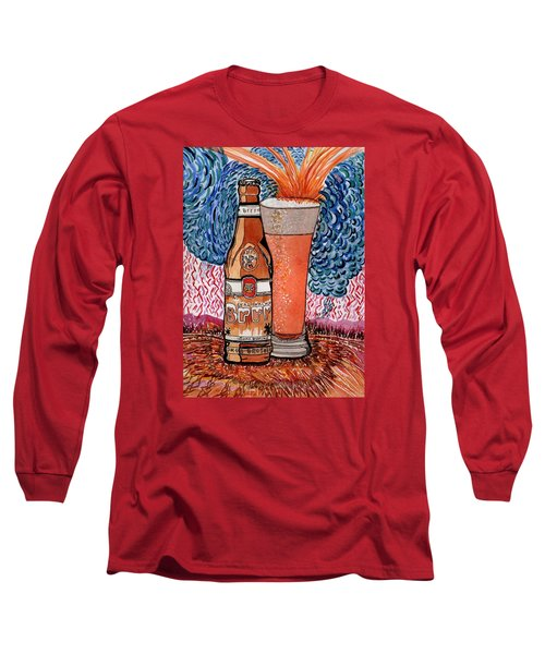 Long Sleeve T-Shirt featuring the painting Yum Burr Hyf. Beer by Connie Valasco