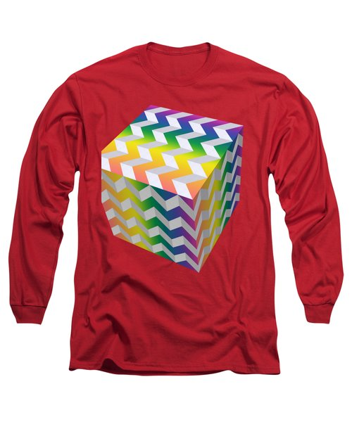 Zig Zag Cube Long Sleeve T-Shirt by Chuck Staley