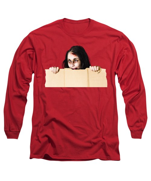 Long Sleeve T-Shirt featuring the photograph Zombie Woman Peering Out Cardboard Box by Jorgo Photography - Wall Art Gallery