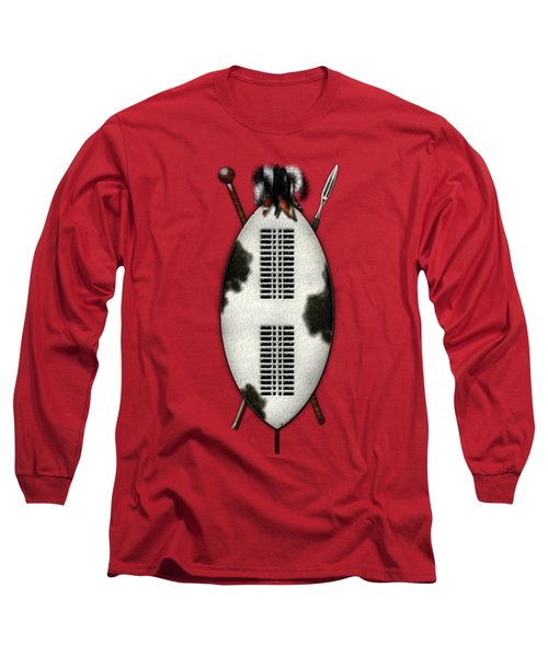 Zulu War Shield With Spear And Club On Red Velvet  Long Sleeve T-Shirt