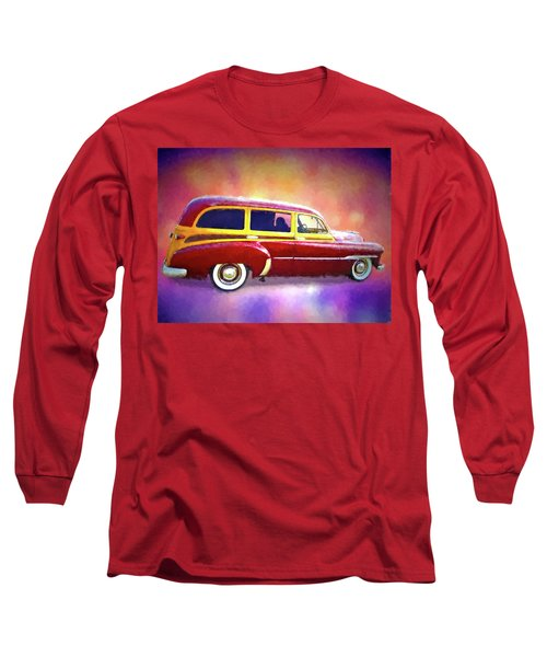 1951 Chevy Woody Sideview Long Sleeve T-Shirt