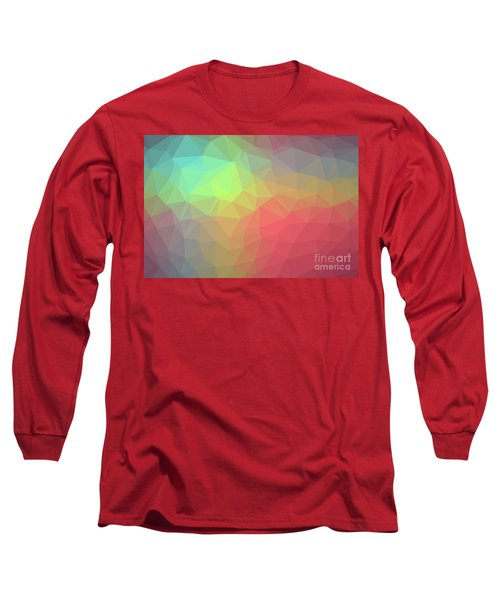 Gradient Background With Mosaic Shape Of Triangular And Square C Long Sleeve T-Shirt