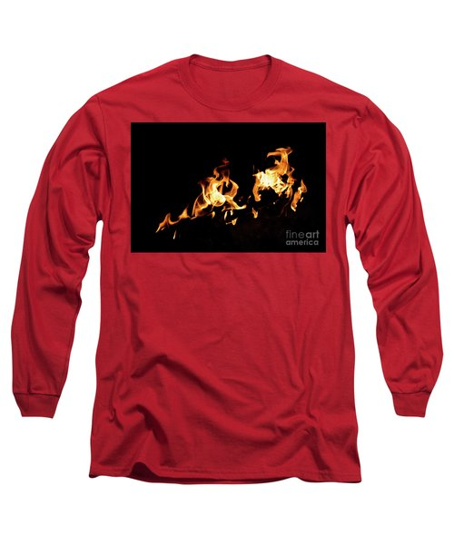 Flames In The Fire Of A Red And Yellow Barbecue. Long Sleeve T-Shirt