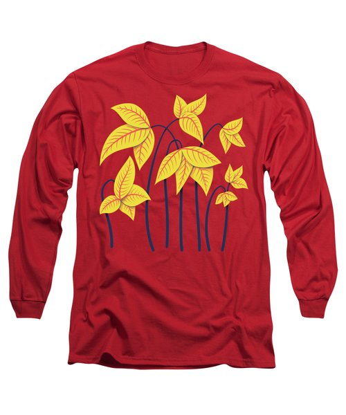 Abstract Flowers Geometric Art In Vibrant Coral And Yellow  Long Sleeve T-Shirt