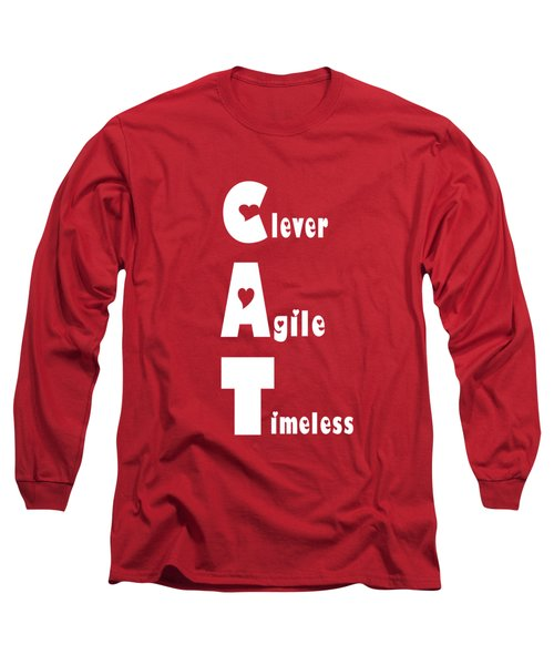 Cat With White Words Long Sleeve T-Shirt