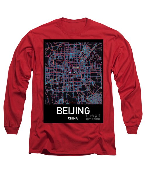 Beijing City Map Long Sleeve T-Shirt