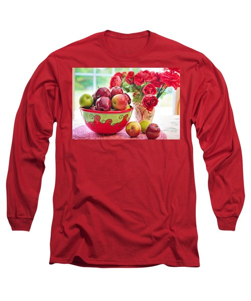 Bowl Of Red Apples Long Sleeve T-Shirt