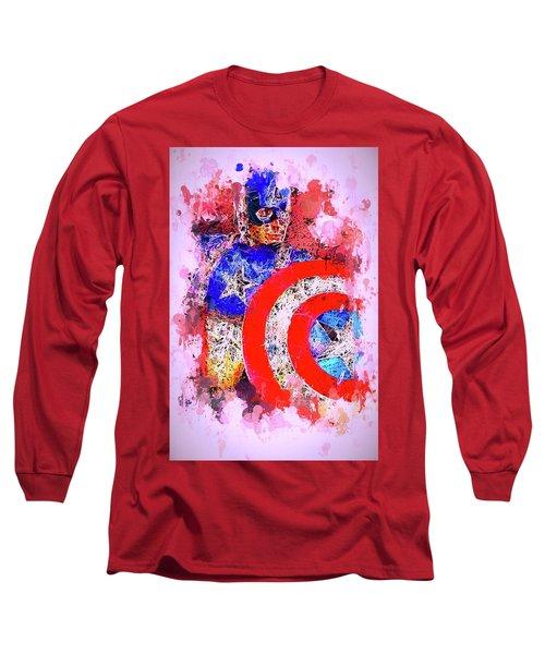 Captain America Watercolor Long Sleeve T-Shirt