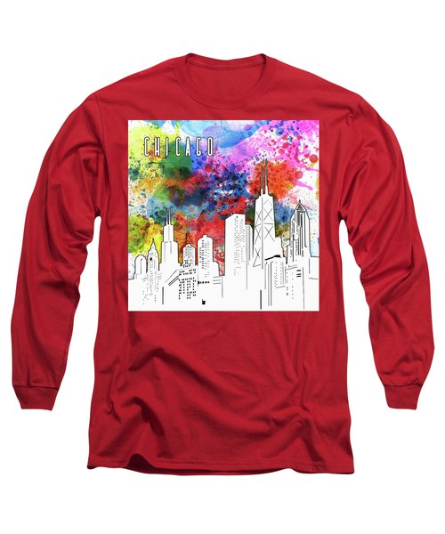 Chicago Skyline Panorama Watercolor Long Sleeve T-Shirt