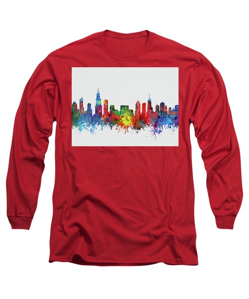 Chicago Skyline Watercolor 2 Long Sleeve T-Shirt